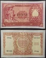 Italia Biglietto Di Stato Da 100 Lire Republica Italiana Una Piega Verticale E Un Pinning Tre Fori Di Sinistra Splendido - [ 2] 1946-… : Republiek