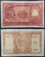 Italia Biglietto Di Stato Da 100 Lire Republica Italiana Una Piega Verticale E Un Pinning Tre Fori Di Sinistra Splendido - [ 2] 1946-… : Repubblica