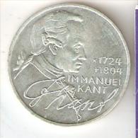 MONEDA DE PLATA DE ALEMANIA DE 5 MARK DEL AÑO 1974 IMMANUEL KANT (COIN) SILVER,ARGENT. - [ 7] 1949-… : RFA - Rep. Fed. Alemana