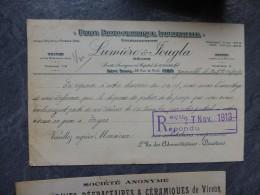 MONTPLAISIR (69) Papiers Lumière Et Jougla, CP 1913, Cachet Ref 476 VP19 - Sin Clasificación