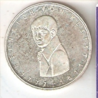 MONEDA DE PLATA DE ALEMANIA DE 5 MARK DEL AÑO 1977 HEINRICH VON KLEIST (COIN) SILVER,ARGENT. - [ 7] 1949-… : RFA - Rep. Fed. Alemana