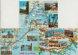 7 POSTCARDS : FRANCE  - AUTO ROUTE - MAPS / CARTES / KAARTEN / KARTEN - Multiviews - (3 Scans) - Landkaarten