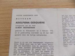 Doodsprentje Adolfiena Gesquière  Nieuwpoort 8/2/1910 - 20/5/1980 ( Albert Meersseman ) - Religion & Esotérisme