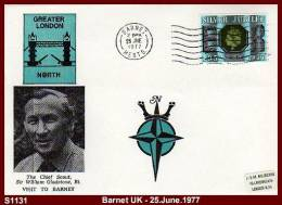 """S1131 """"GREATER LONDON NORTH, VISIT OF CHIEF SCOUT SIR WILLIAM GLADSTONE To BARNET - 25.June.1977 - Scouting Cover - Scouting"""