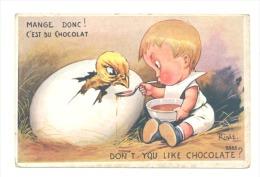 FANTAISIE - Humour - Enfant Nourrissant Un Poussin Avec Du Chocolat-Illustrateur Right  (2049)b139 - Right