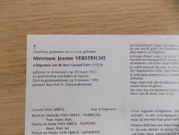 Doodsprentje Jeanne Verstricht Antwerpen 29/3/1926 Veurne 9/10/1992 ( Gerard Van Herck ) - Religione & Esoterismo