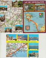 3 POSTCARDS : FRANCE  - AUTO ROUTE - Carte PNEU MICHELIN - MAPS / CARTES / KAARTEN / KARTEN - (2 Scans) - Landkaarten