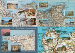 4 POSTCARDS : FRANCE  - AUTO ROUTE - MICHELIN 2x 58 & 2x 59  - MAPS / CARTES / KAARTEN / KARTEN - (2 Scans) - Landkaarten