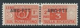 1949-53 TRIESTE A PACCHI POSTALI 3 LIRE MNH ** - ED100-7 - 7. Trieste