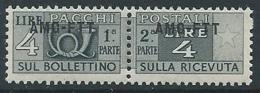 1949-53 TRIESTE A PACCHI POSTALI 4 LIRE MNH ** - ED108 - 7. Trieste