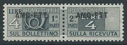 1949-53 TRIESTE A PACCHI POSTALI 4 LIRE MNH ** - ED109-3 - Paquetes Postales/consigna