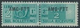 1949-53 TRIESTE A PACCHI POSTALI 2 LIRE MNH ** - ED113-3 - Paquetes Postales/consigna