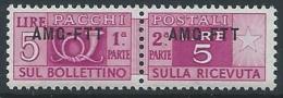 1949-53 TRIESTE A PACCHI POSTALI 5 LIRE MNH ** - ED117 - Paketmarken/Konzessionen