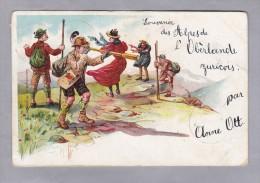 Gruss Aus Den Bergen Litho 1899.VIII.23 Saaland Nach Zürich - Souvenir De...
