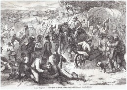 Gravure Ancienne 1864 American Civil War    Arriere Garde  Du General   Sherman  Parti De Meridan  Vers Selma - Vecchi Documenti