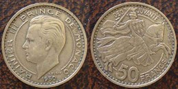(J) MONACO: 50 Francs 1950 XF+ (559) - 1949-1956 Francos Antiguos