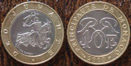 (J) MONACO: 10 Francs BIM 2000 UNC (165) - Mónaco