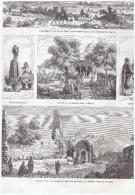 Gravure Ancienne 1864 TUNIS Vue Generale ,  La Marsa,  Yughktare Tunisie - Vieux Papiers