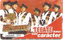 TARJETA DE MEXICO DE CERVEZA TECATE (BEER) GRUPO MUSICAL LOS HURACANES DEL NORTE - Publicidad