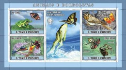 SAO TOME BIRDS SPIDER FROG BUTTERFLY INSECTS CENT OF SCOUTING SCOUTS S/S MNH C7 ST7209A - Stamps