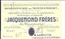 42 La Ricamarie Jacquemond Spécialité De Boulons Carte Commerciale - Frankreich