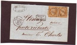 LETTRE AVEC PAIRE DU TIMBRE TYPE NAPOLEON III  N° 13A - 1849-1876: Classic Period