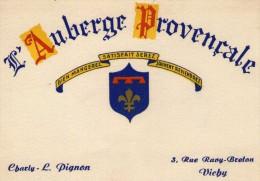 (03)   ALLIER  ** VICHY  ** CARTE DE VISITE  ** L'AUBERGE PROVENCALE - Visiting Cards
