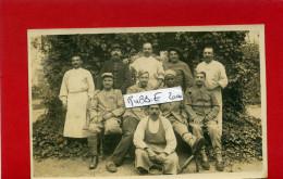 HOPITAL MILITAIRE GROUPE DE BLESSES ET INFIRMIERS CARTE PHOTO ARGENTIQUE - Guerre 1914-18