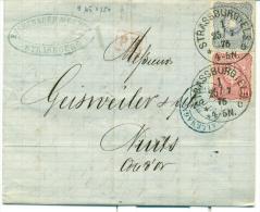 STRASBOURG OCCUPATION ALLEMANDE - LETTRE 1875 AFFRANCHISSEMENT 30 PFG DESTINATION COTE D OR - Poststempel (Briefe)