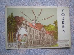 Q S L ,Radio Amateur Card, Romania , 1958.  Bucuresti,Stalin City, Hungarian Liceum - Radio Amateur