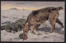 1914 - 18 GUERRE CHIEN MEDICAL AU CHAMP DE BATAILLE - SANITÄTSHUND IM FELDE - Blessé - Wohlfahrts-Postkarte - Nr. 10 - Croix-Rouge