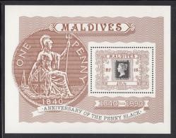 Maldives MNH Scott #1410 Souvenir Sheet 18r Penny Black - 150th Anniversary - Maldives (1965-...)