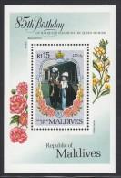 Maldives MNH Scott #1101 Souvenir Sheet 15r Queen Mother With Prince Charles - 85th Birthday - Maldives (1965-...)