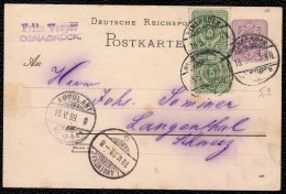 1889 ENTIER ALLEMAGNE REICH 5pf SURCHARGE 2 X 3pf - OSNABRUCK > AMBULANT > LANGENTHAL SCHWEIZ - Ganzsachen