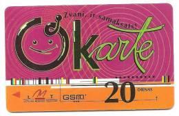 Latvia  Lettland / Lettonia Telefonkarte 2007 -2009 - 20 Days Prepaid Card Used - Latvia