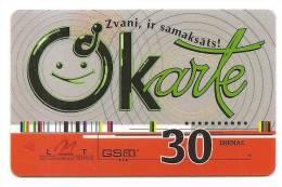 Latvia  Lettland / Lettonia Telefonkarte 2007 -2009 - 30 Days Prepaid Card Used -2 - Latvia