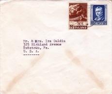 ISLAND 1947 - 50Aur + 1,25KR Frankierung Auf Brief Island > USA - 1944-... Republik