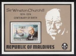 Maldives MNH Scott #532 Souvenir Sheet 10r Aircraft Carrier, Sir Winston Churchill Birth Centenary - Maldives (1965-...)
