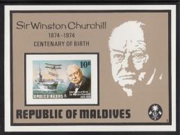 Maldives MNH Scott #532 Imperf Souvenir Sheet 10r Aircraft Carrier, Sir Winston Churchill Birth Centenary - Maldives (1965-...)