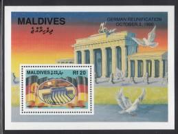 Maldives MNH Scott #1514 Souvenir Sheet 20r Brandenburg Gate - German Reunification - Maldives (1965-...)