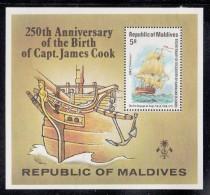 Maldives MNH Scott #757 Souvenir Sheet 5r 'Endeavor' - 250th Anniversary Death Of Captain Cook - Maldives (1965-...)