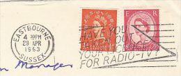 1963 EASTBOURNE GB  COVER TV RADIO LICENCE SLOGAN Pmk  Stamps Broadcasting - Sciences