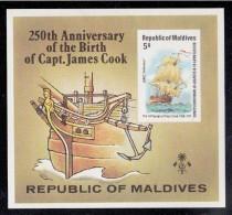 Maldives MNH Scott #757 Imperf Souvenir Sheet 5r ´Endeavor´ - 250th Anniversary Death Of Captain Cook - Maldives (1965-...)
