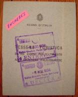 1934 Regni D´Italia Tessera Turistica Vintimiglia Nizza Gabrielle BAREL Frontiera Italo Francese + Photo Tampons ITALIE - Historische Documenten