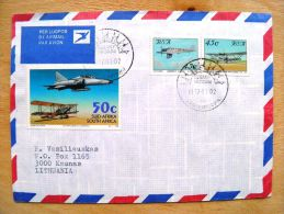 Cover From RSA South Africa Sent To Lithuania On 1997 Plane Airplanes Avion Special Cancel Albany Museum - Cartas
