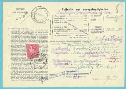 """848 op BULLETIJN VAN ONREGELMATIGHEDEN / """"Luchtpostbriefwisseling van"""" met stempel TURNHOUT (zeldzaam dokument) !!"""