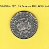DOMINICAN REPUBLIC   25  CENTAVOS  1989  (KM # 71.1) - Dominikanische Rep.