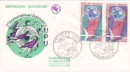 MADAGASCAR : Lettre 1er Jour Du 2ème Anniversaire De L'Admission à L'UPU - Madagascar (1960-...)