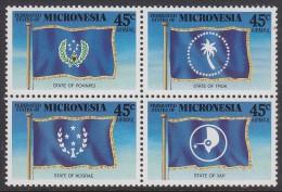 MICRONESIA, 1989 STATE FLAGS BLOCK 4 MNH - Micronesia