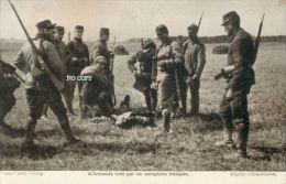 CPA MILITAIRE 1914 1918 - Très Rare Carte Postale 1914 « Allemand Tué Par Un Aéroplane» - Guerre 1914-18